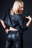 Beautiful blonde with a microphone Royalty Free Stock Images