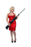 Beautiful Blonde with Military Rifle (4) Royalty Free Stock Photography