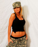 Beautiful Blonde Model in Camouflage. Stock Photography