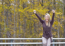 Beautiful Blonde Model Cheering Royalty Free Stock Photo