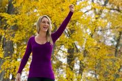 Beautiful Blonde Model Cheering Stock Images