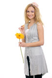 Beautiful blonde model with a flower 3 Royalty Free Stock Image