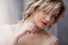 Portrait of a beautiful girl with blond hear royalty free stock photography