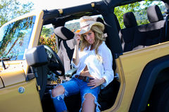 Beautiful blonde model in a straw cowboy hat. Stock Image