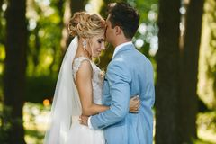 Beautiful blonde model woman with luxury jewelry in her wedding hairstyle and in fashionable dress hugs with the royalty free stock photos