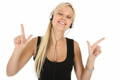 Beautiful Blonde Music Lover Royalty Free Stock Images