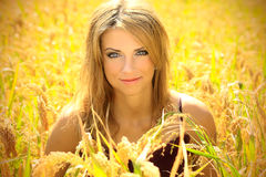Beautiful  blonde in a nature Royalty Free Stock Photos