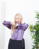 Beautiful blonde in the Office hand tied wire UTP Stock Photos