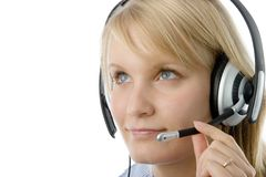 Beautiful blonde operator. Portrait of attractive business woman with headset isolated over white background stock photos