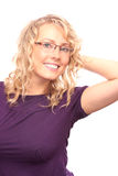 The beautiful blonde in the optical salon Stock Photos
