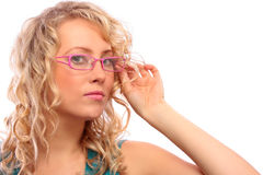 The beautiful blonde in the optical salon Stock Image