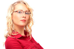 The beautiful blonde in the optical salon Stock Photo