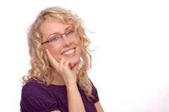 The beautiful blonde in the optical salon Royalty Free Stock Photos