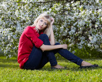 Beautiful blonde outdoors Stock Photos