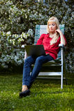 Beautiful blonde outdoors Stock Photography