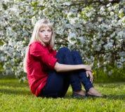 Beautiful blonde outdoors Stock Image