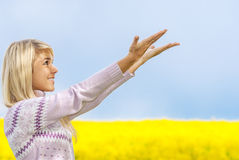 Beautiful blonde outdoors Royalty Free Stock Images