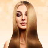 Beautiful blonde with perfect healthy long hair with professiona Stock Photo