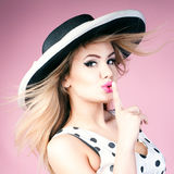 Beautiful blonde pinup girl. Stock Image