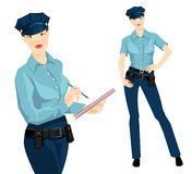 Beautiful blonde policewoman in formal clothes Royalty Free Stock Photo