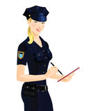 Beautiful blonde policewoman. In uniform. Officer woman writing in document Royalty Free Stock Photo