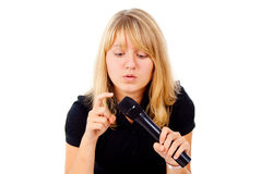 Beautiful blonde pounding in microphone Stock Photography