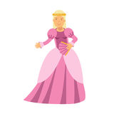 Beautiful blonde princess in a pink dress, fairytale or medieval character colorful  Illustration. On a white background Stock Photography