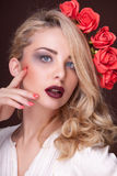 Beautiful blonde with professional make up Stock Photography
