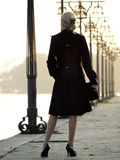Beautiful blonde on promenade. Beautiful blonde lady staying near lanterns on promenade Stock Images