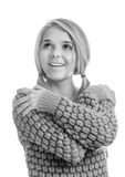 Beautiful blonde in pullover. Portrait of beautiful blonde girl in pullover on white Royalty Free Stock Photo