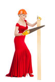 Beautiful blonde in a red dress Royalty Free Stock Photo