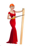Beautiful blonde in a red dress Stock Photos