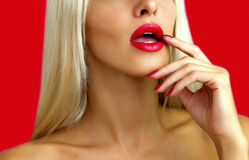 Beautiful blonde with red lipstick Stock Photos