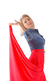The beautiful blonde in a red skirt Royalty Free Stock Photos