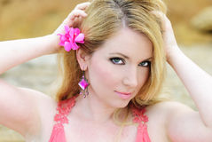 Beautiful blonde in rose gown. Beautiful blonde ashore epidemic deathes in rose gown Stock Photo