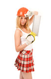 Beautiful blonde with a saw. Stock Photos