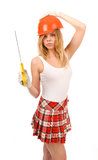 Beautiful blonde with a saw. Royalty Free Stock Images
