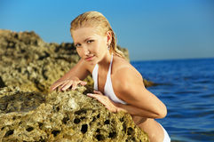 Beautiful blonde on sea Royalty Free Stock Photo