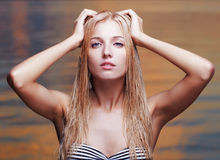 Beautiful blonde in sea Royalty Free Stock Photo