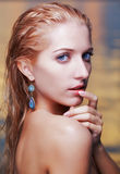 Beautiful blonde in sea Stock Photography