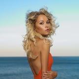 Beautiful blonde at the sea Stock Photo