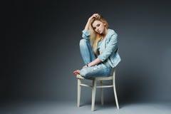 Beautiful blonde girl. Studio portrait shot royalty free stock image