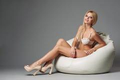Beautiful blonde sexy girl studio shot Stock Photography