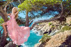 Beautiful blonde sexy shapely female model in a pink ballroom amazing carnival evening gown, wedding lies on the old tree. In the background you can see rough Royalty Free Stock Image