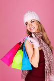 Beautiful Blonde Shopping Royalty Free Stock Photography
