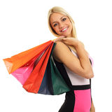 Beautiful blonde with shopping bags Royalty Free Stock Photography
