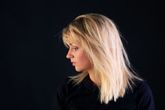 Beautiful blonde side view portrait Stock Photo