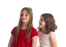 Beautiful Blonde Sisters isolated Royalty Free Stock Photography