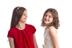 Beautiful Blonde Sisters isolated Stock Images