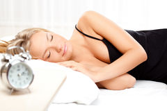 Beautiful blonde sleeping Royalty Free Stock Photos